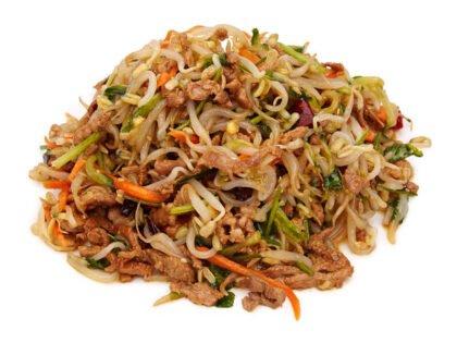 Салат с ростками сои и свининой