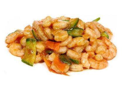 Креветка в соусе с овощами